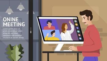 Mann verwenden Online-Meeting