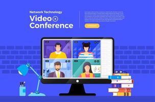 Videokonferenz zur Netzwerktechnologie vektor