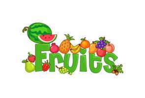 Fruchttext umgeben von Früchten