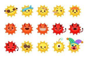 Sammlung verschiedener Emoticons von niedlichen Sonnenkarikaturen vektor