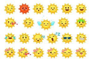 samling av olika uttryckssymboler av söt soltecknad film vektor