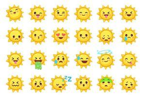 Sammlung verschiedener Emoticons von niedlichen Sonnenkarikaturen