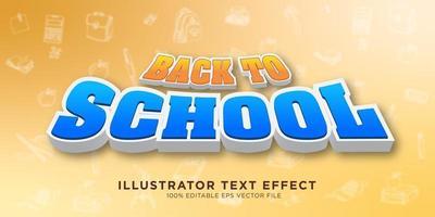 tillbaka till skolan text effekt design vektor