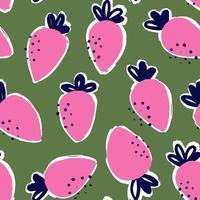 jordgubbar mat mode stil sömlösa mönster vektor