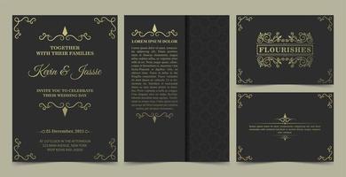 samling av inbjudningskort i vintagestil vektor