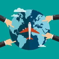 Reisen Sie mit dem Flugzeugdesign mit zeigenden Händen um die Welt vektor