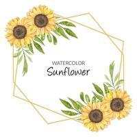 Sonnenblumenaquarellrahmendekoration vektor