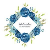 akvarell marinblå blommig kant för dekoration