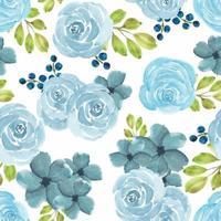 sömlösa mönster med akvarell blå ros blommor vektor