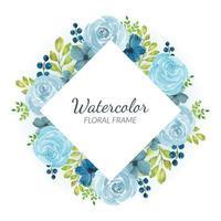 akvarell blå ros blommig kant vektor