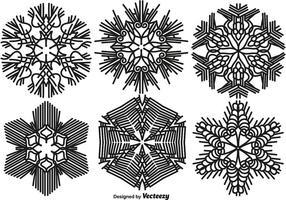 Vektor uppsättning av 6 snöflingor