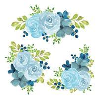 Aquarell blau Rose Blumenstrauß Set vektor