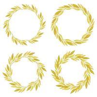 akvarell höst gula blad krans samling vektor