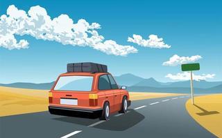 rotes Auto auf einer Reise durch die Wüste vektor