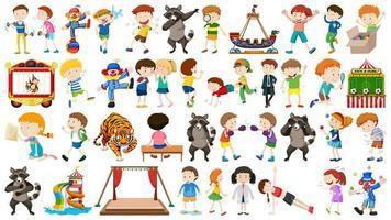 riesiger Zirkus mit Tieren, Menschen, Clowns, Ausritten vektor