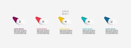 Infografiken mit gefalteten Farbbandetiketten vektor