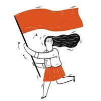 flicka som håller tom flagga