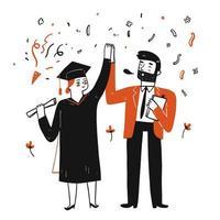 Mädchen Abschluss und Feiern mit dem Lehrer vektor