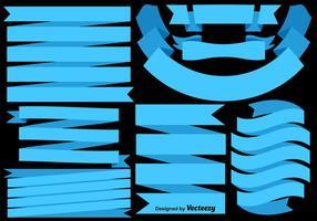 Vektor uppsättning av blå flaggor / band