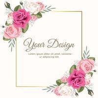 rosa Blumenrosenhochzeitseinladung vektor