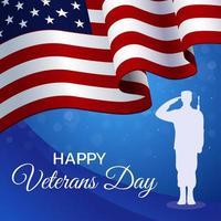 glückliches Veteranentagkonzept mit amerikanischer Flagge vektor