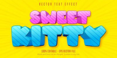 bearbeitbarer Texteffekt der rosa und blauen süßen Kätzchenkarikatur vektor