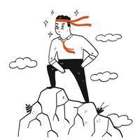 man på toppen av ett berg i en framgångsrik pose