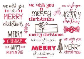 Söt handdragen juletiketter vektor