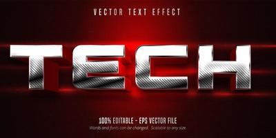 Bearbeitbarer Texteffekt im Tech-Metallic-Silber-Stil vektor