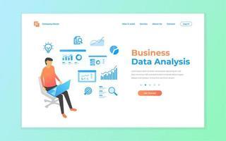 Geschäftsdatenanalyse für Website und mobile Zielseite vektor