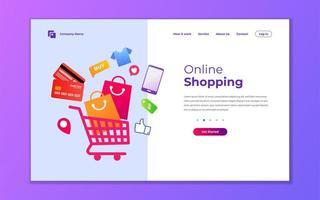 Kreatives Design für die Zielseite des Online-Shops vektor
