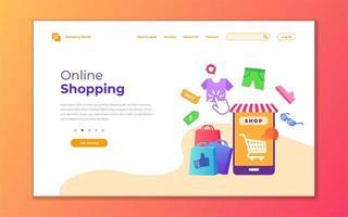 modernt koncept för onlinebutikens målsida