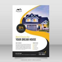 Immobilienbroschüre mit gelbem und schwarzem Wirbelmuster