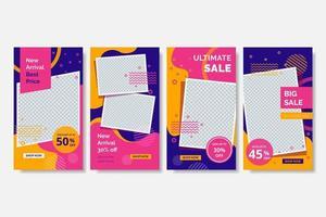 rosa, orange och lila memphis sociala medier postmall vektor
