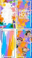 vier Hintergrunddesign mit glücklichem holi Festivalthema