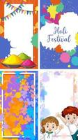vier Hintergrunddesign mit glücklichem holi Festivalthema vektor
