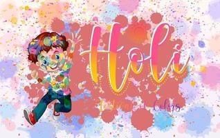 glückliches holi Festivalplakatdesign mit buntem Hintergrund