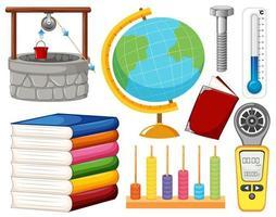 Satz wissenschaftlicher Ausrüstung auf weißem Hintergrund