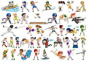 sportliche Aktivitäten von Jungen, Mädchen, Kindern, Sportlern vektor