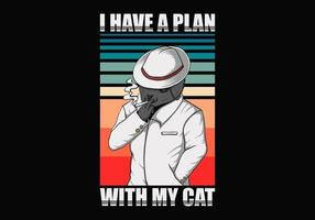 plan med katt retro illustration