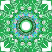 Mandalamuster auf weißem, grünem Hintergrund vektor