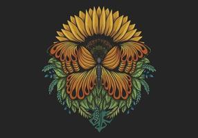 Sonnenblumenschmetterlingsillustration vektor
