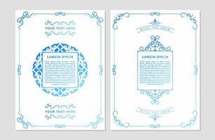 antike weiße und blaue Grußkarte vektor