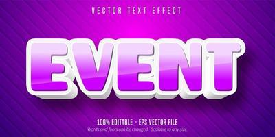 bearbeitbarer Texteffekt im lila und weißen Ereigniskarikaturstil vektor