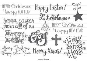 Hand gezeichnetes Weihnachten u. Ostern-Gekritzel vektor