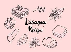 Freie Hand gezeichnete Lasagne Vektor