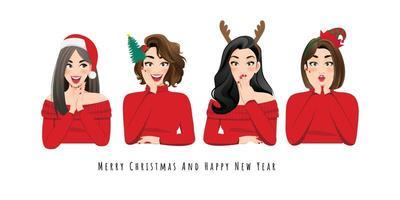 aufgeregte und überraschte Frauen in Weihnachtsoutfits
