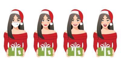 Frauen in Weihnachtsmützen, die Geschenke mit verschiedenen Ausdrücken halten