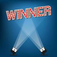 Gewinneretikett auf der Bühne mit blauem Hintergrund