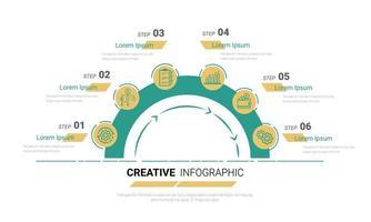 halvcirkel infografisk med 6 alternativ 6 alternativ